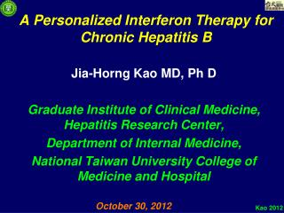 A Personalized Interferon Therapy for Chronic Hepatitis B