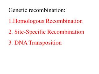 Genetic recombination: 1.Homologous  R ecombination 2.  Site-Specific  R ecombination