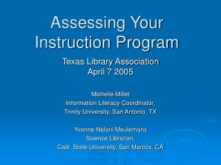 Assessing Your Instruction Program