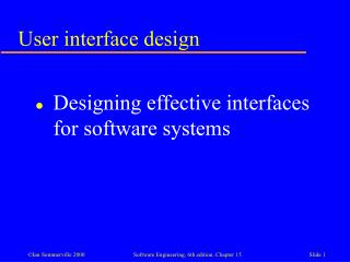 User interface design