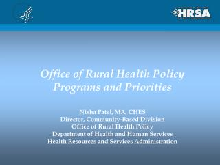 Office of Rural Health Policy Programs and Priorities