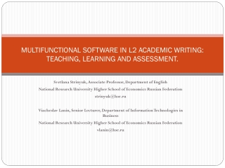 MULTIFUNCTIONAL SOFTWARE IN L2 ACADEMIC WRITING: TEACHING, LEARNING AND ASSESSMENT.