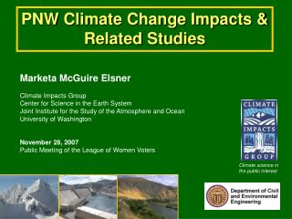 PNW Climate Change Impacts & Related Studies