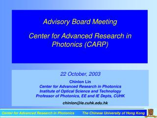 Advisory Board Meeting Center for Advanced Research in Photonics (CARP)