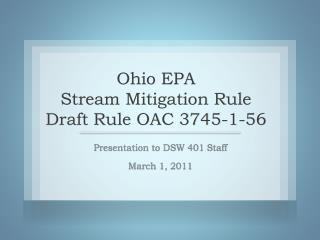 Ohio EPA Stream Mitigation Rule Draft Rule OAC 3745-1-56