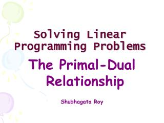 Solving Linear Programming Problems