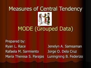 Measures of Central Tendency MODE (Grouped Data)
