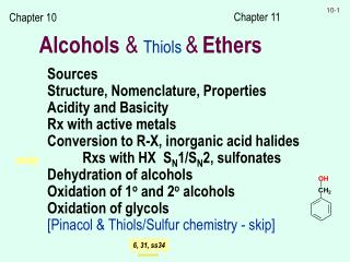 Alcohols  &  Thiols  & Ethers