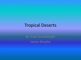 Tropical Deserts