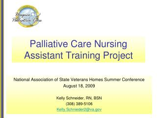 Palliative Care Nursing Assistant Training Project