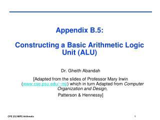 Appendix B.5: Constructing a Basic Arithmetic Logic Unit (ALU)