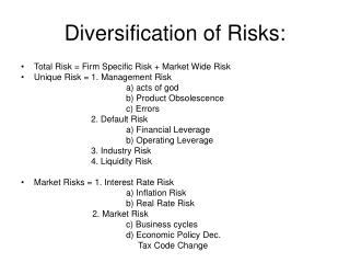 Diversification of Risks: