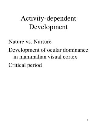 Activity-dependent Development