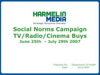 Social Norms Campaign TV/Radio/Cinema Buys June 25th  – July 29th 2007