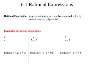 6 .1 Rational Expressions