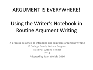 Ideas for Writing in a Writer s Notebook