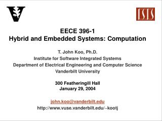 EECE 396-1 Hybrid and Embedded Systems: Computation