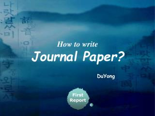 How to write Journal Paper?