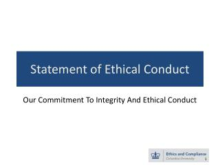 Statement of Ethical Conduct