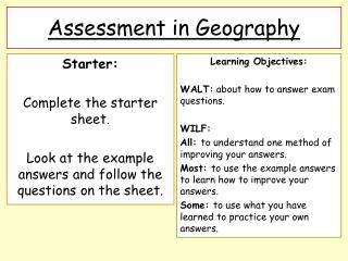 Assessment in Geography