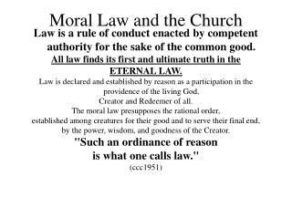 Moral Law and the Church