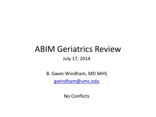ABIM Geriatrics  Review