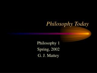Philosophy Today