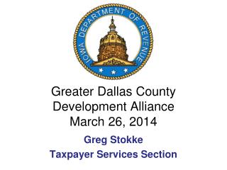 Greater Dallas County Development Alliance March 26, 2014