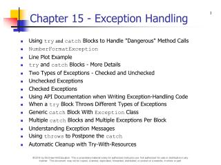 Chapter 15 - Exception Handling