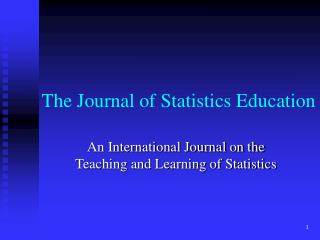 The Journal of Statistics Education
