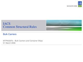 IACS  Common Structural Rules