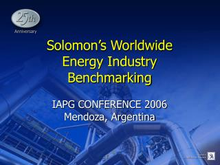 Solomon's Worldwide Energy Industry Benchmarking