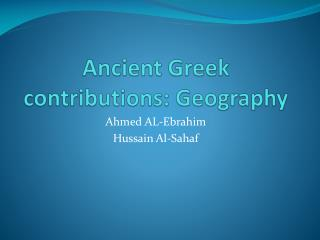 Ancient Greek contributions: Geography
