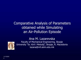 Comparative Analysis of Parameters obtained while Simulating  an Air-Pollution Episode