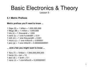 Basic Electronics & Theory Lesson 5