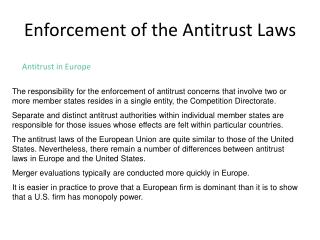 Enforcement of the Antitrust Laws