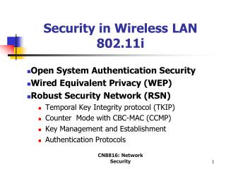 Security in Wireless LAN 802.11i