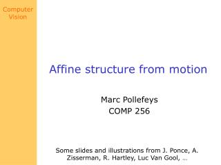Affine structure from motion