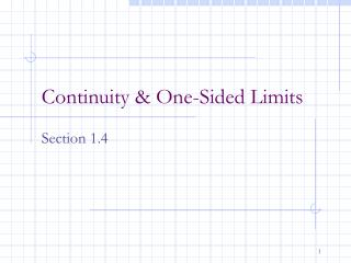 Continuity & One-Sided Limits