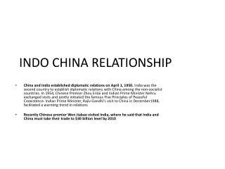 INDO CHINA RELATIONSHIP