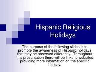 Hispanic Religious Holidays