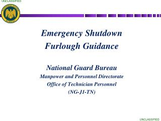 Emergency Shutdown  Furlough Guidance National Guard Bureau Manpower and Personnel Directorate
