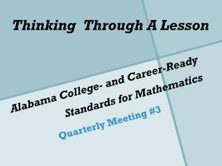 Alabama College- and Career-Ready Standards for Mathematics