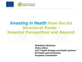 Investing in Health  from the EU  Structural Funds :  Hospital Perspective and Beyond