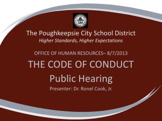 The Poughkeepsie City School District Higher Standards, Higher Expectations