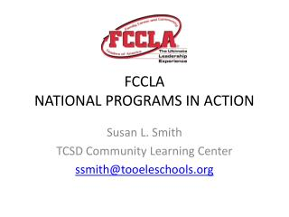 FCCLA  NATIONAL PROGRAMS IN ACTION