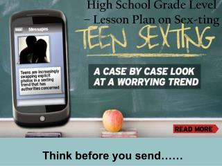 High School Grade Level – Lesson Plan on Sex-ting