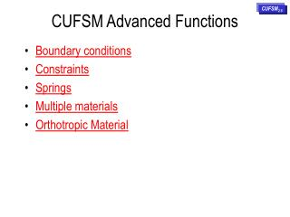 CUFSM Advanced Functions