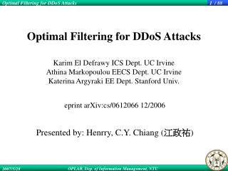 eprint arXiv:cs/0612066 12/2006 Presented by: Henrry, C.Y. Chiang ( 江政祐 )