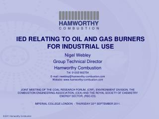 IED RELATING TO OIL AND GAS BURNERS FOR INDUSTRIAL USE